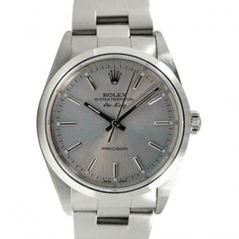 Rolex Air King Steel Silver Index Ticks Swiss Dial 14000M Oyster Watch Chest
