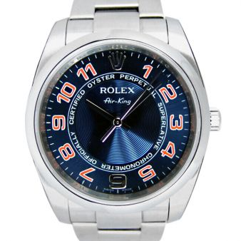 Rolex Air King Blue Concentric Orange 114200 Oyster Watch Chest
