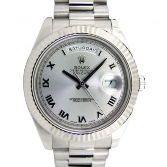Rolex Day Date II President White Gold Silver Roman 218239, Watch Chest