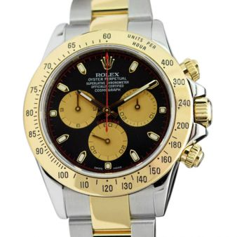 Rolex Cosmograph Daytona Gold Steel Black Paul Newman 116523 Watch Chest