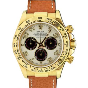 Rolex Cosmograph Daytona Yellow Gold White Panda Tan Leather Strap 116518 Watch Chest