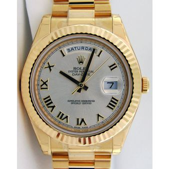 Rolex Day Date II President Gold Silver Roman Dial 218238 WATCH CHEST