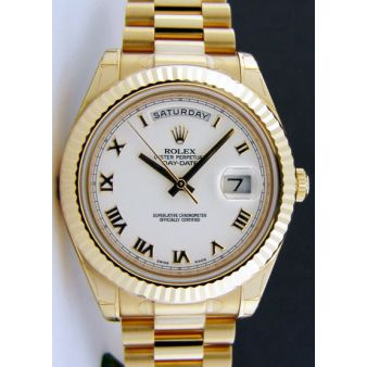 New Rolex Day Date II President Gold White Roman 218238 WATCH CHEST