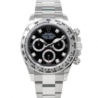 New Rolex Cosmograph Daytona 116509 Wristwatch Black Diamond Face Oyster Bracelet