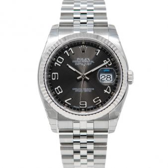 New Rolex Datejust 36, Black Concentric Arabic Face, Steel & White Gold, 116234