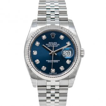 New Rolex Datejust 36, Blue Face, Steel & White Gold, 116234
