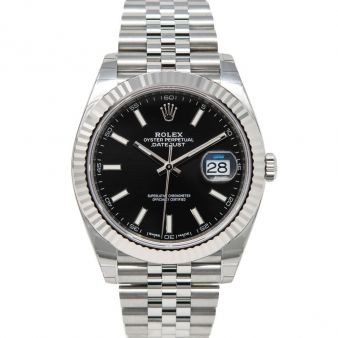 New Rolex Datejust 41, Black Face, Steel & White Gold, 126334