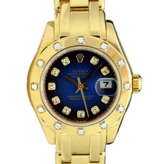 Rolex Datejust Pearlmaster Yellow Gold Blue Vignette Diamond Dial Bezel 80318 Rehaut Watch Chest