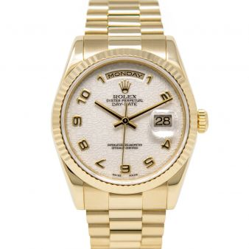 Rolex Men's Day-Date 36 118238 Wristwatch, President Bracelet, Ivory Jubilee Arabic Dial, Fluted Bezel