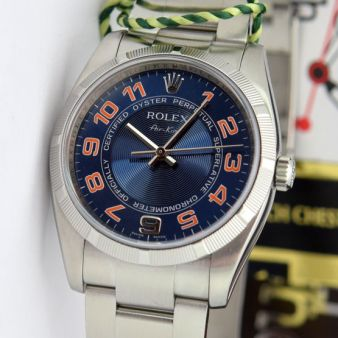 Rolex Air King Blue Concentric Orange 114210 Oyster Watch Chest
