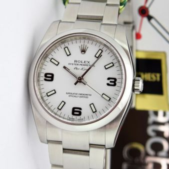 Rolex Air King Steel White Arabic Dial 114200 Rehaut Oyster Watch Chest