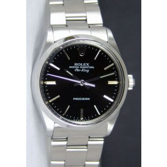 Rolex Air King Steel Black Index Dial 14000 Oyster Watch Chest