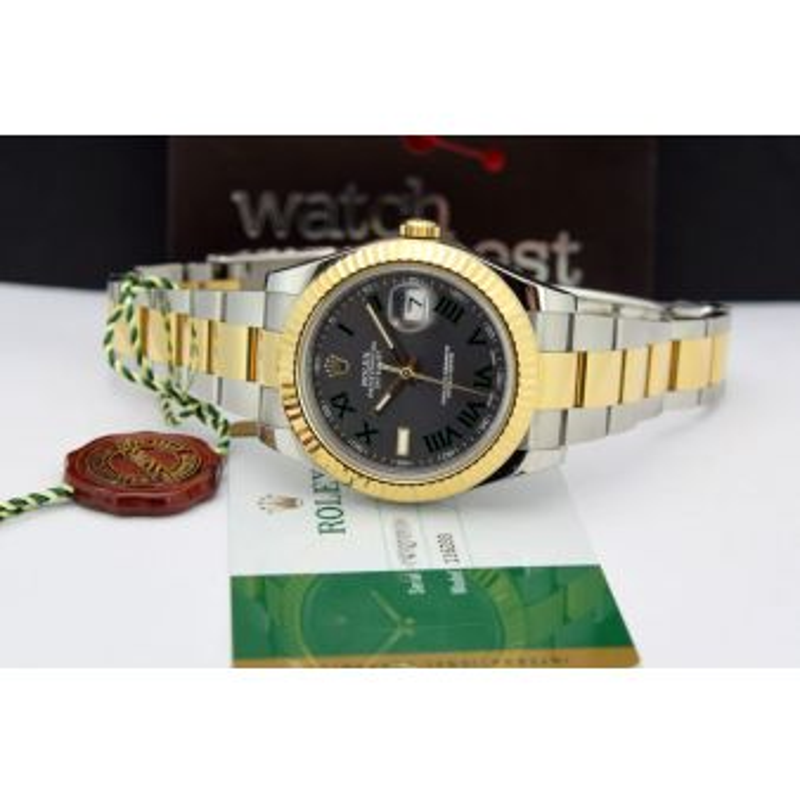 Rolex Datejust II Gold Steel Slate Green Roman 116333, Watch Chest