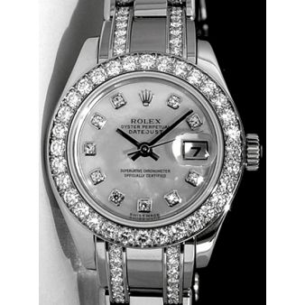 Rolex Datejust Pearlmaster White Gold Mother of Pearl Diamond Dial 80299 Double Diamond Bracelet Watch Chest