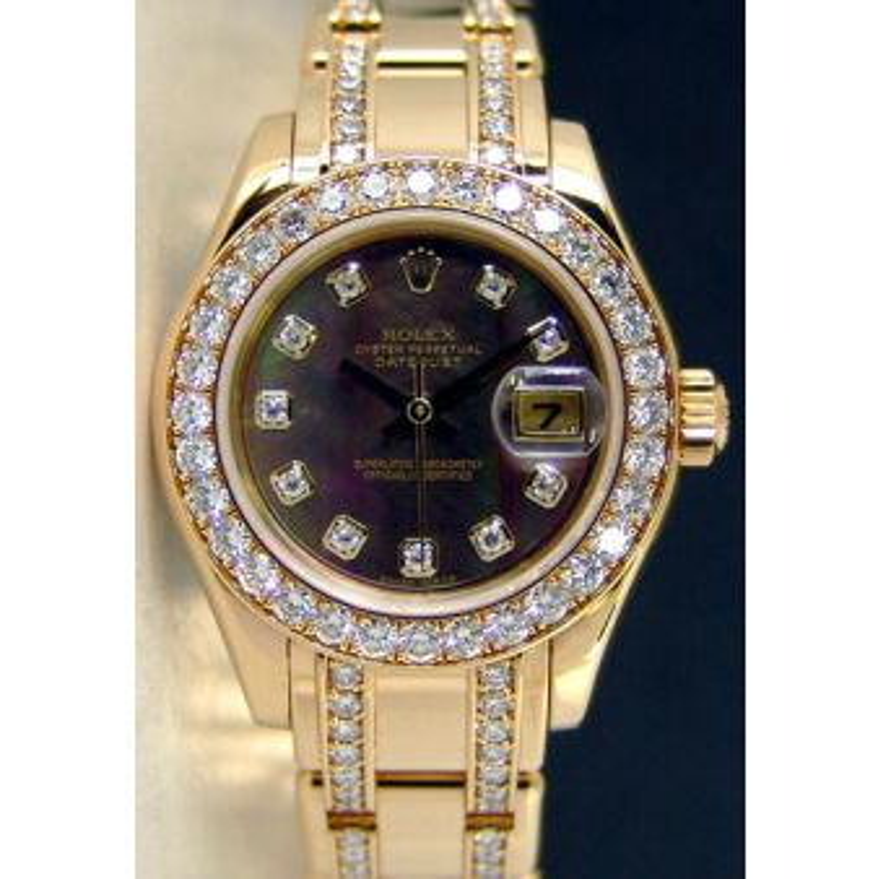 Rolex Datejust Pearlmaster Yellow Gold Black Mother of Pearl Diamond Dial Bezel 80298 Diamond Bracelet Watch Chest