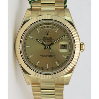 Rolex Day Date 2 President Gold Champagne Index Dial 218238 WATCH CHEST