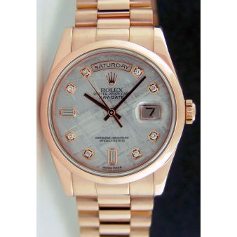 Rolex Day Date President Rose Gold Meteorite Diamond Dial 118205   WATCH CHEST