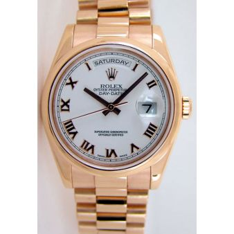 Rolex Day Date President Rose Gold White Roman 118205   WATCH CHEST