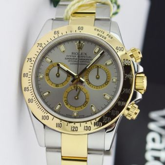 Rolex Cosmograph Daytona Gold Steel Slate Dial 116523 Watch Chest