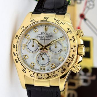 Rolex Cosmograph Daytona Yellow Gold Mother of Pearl Diamond Black Leather Strap 116518 Watch Chest