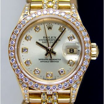 Rolex Lady Datejust Yellow Gold Silver Diamond Ticks Dial Lugs Crown Collection 69158 Jubilee Watch Chest