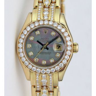 Rolex Lady Pearlmaster Tahitian Mother of Pearl Diamond Bezel 69298 Watch Chest