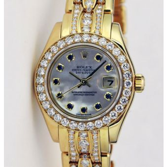 Rolex Datejust Pearlmaster Yellow Gold Mother of Pearl Sapphire Dial Bezel 80298 Triple Diamond Bracelet Watch Chest