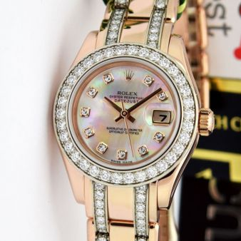 Rolex Datejust Pearlmaster Yellow Gold Mother of Pearl Diamond Dial Bezel 80285 Double Diamond Bracelet Watch Chest