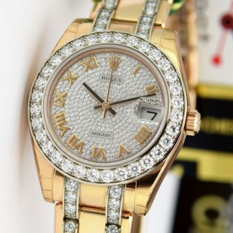 New Rolex Datejust Special Pearlmaster Gold Pave Roman Dial 81285 Watch Chest