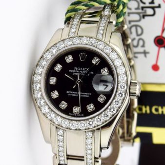 Rolex Datejust Pearlmaster White Gold Black Diamond Dial 80299 Double Diamond Bracelet Watch Chest