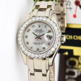Rolex Datejust Pearlmaster Mother of Pearl Arabic Diamond 80299 Watch Chest