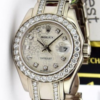 Rolex Datejust Pearlmaster White Gold Silver Diamond Dial 80299 Double Diamond Bracelet Watch Chest