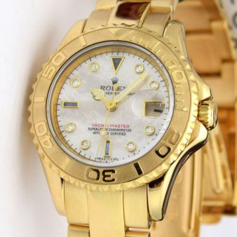 Rolex Lady Yachtmaster Yellow Gold Mother of Pearl Serti 69628 Watch Chest