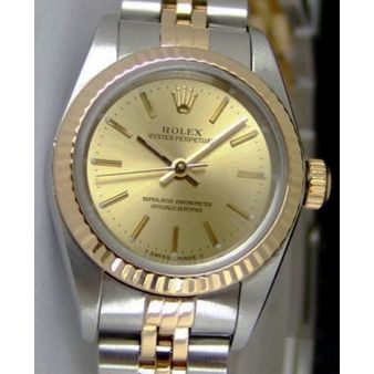 Rolex Oyster Perpetual Gold Steel Champagne Index Dial 67193 Jubilee Watch Chest
