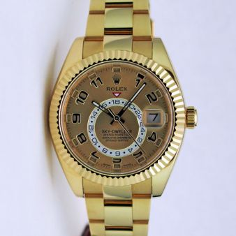 Rolex Sky Dweller Yellow Gold Champagne Sunray Arabic Dial 326938 Rehaut Oyster Watch Chest