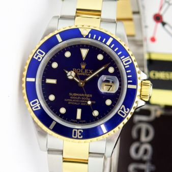 Rolex Submariner Blue Dial Steel & Gold 16613 Holes Oyster Watch Chest