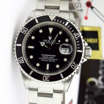 Rolex Submariner Black Face Stainless Steel 16610LN Holes