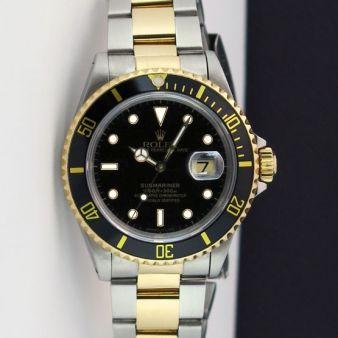 Rolex Submariner Black Dial Gold Steel 16613LN Holes