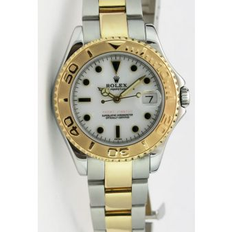 Rolex Yachtmaster Yellow Gold Steel White Swiss Dial 68623 Oyster Watch Chest