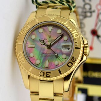 Rolex Yachtmaster 35mm Yellow Gold Mother of Pearl Dial 168628 Oyster Watch Chest