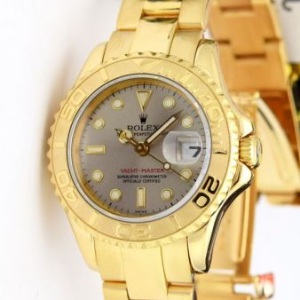 Rolex Lady Yachtmaster Yellow Gold Slate Baton 69628 Watch Chest