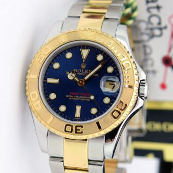 Rolex Yachtmaster 35mm Yellow Gold Steel Blue Dial 168623 Oyster Watch Chest