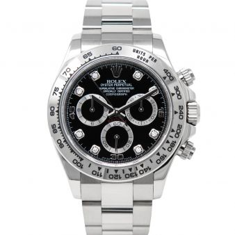 Rolex Cosmograph Daytona 116509 Wristwatch Black Diamond Face Oyster Bracelet