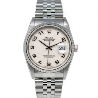 Rolex Men's Datejust 36 16220 Wristwatch, Jubilee Bracelet, Ivory Jubilee Arabic Dial, Engine-Turn Dial