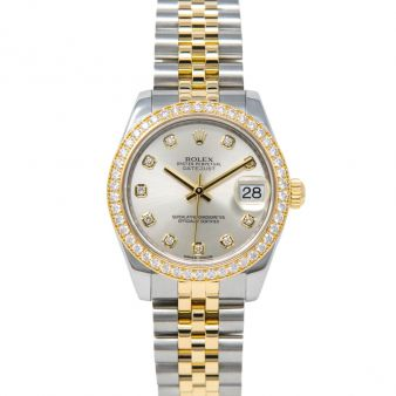 Rolex Datejust 31, Silver Diamond Face, Steel & Gold, 178383