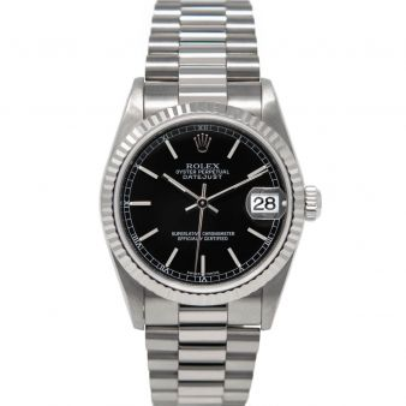 Rolex Datejust 31 78279 Wristwatch, President Bracelet, Black Index Dial, Fluted Bezel