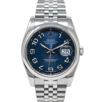 Rolex Men's Datejust 36 116200 Wristwatch, Jubilee Bracelet, Blue Concentric Arabic Dial, Smooth Bezel