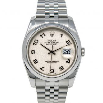 Rolex Men's Datejust 36 116200 Wristwatch, Oyster Bracelet, Ivory Jubilee Arabic Dial, Smooth Bezel