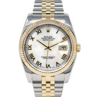 Rolex Men's Datejust 36 116233 Wristwatch, Jubilee Bracelet, Mother of Pearl Roman Dial, Fluted Bezel