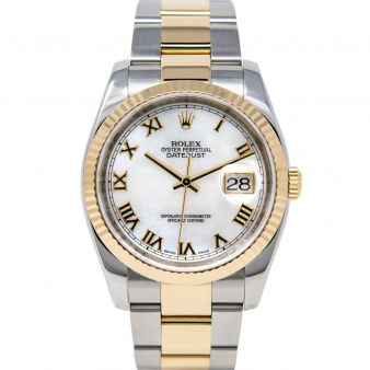 Rolex Men's Datejust 36 116233 Wristwatch, Oyster Bracelet, Mother of Pearl Roman Dial, Fluted Bezel